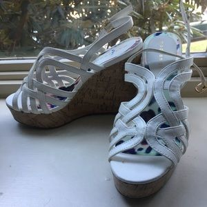 Shoes - White strapped wedges
